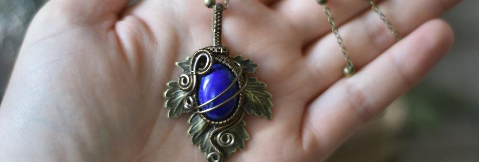 ~Athélas~ Pendentif Feuille Bronze et wire  Bronze et Lapis Lazuli