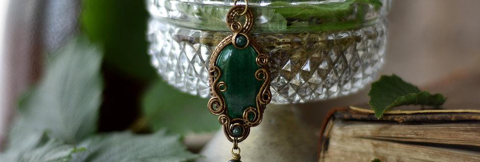 ~Coeur de Fougère ~ Collier wire bronze en Aventurine et perles d'agate verte