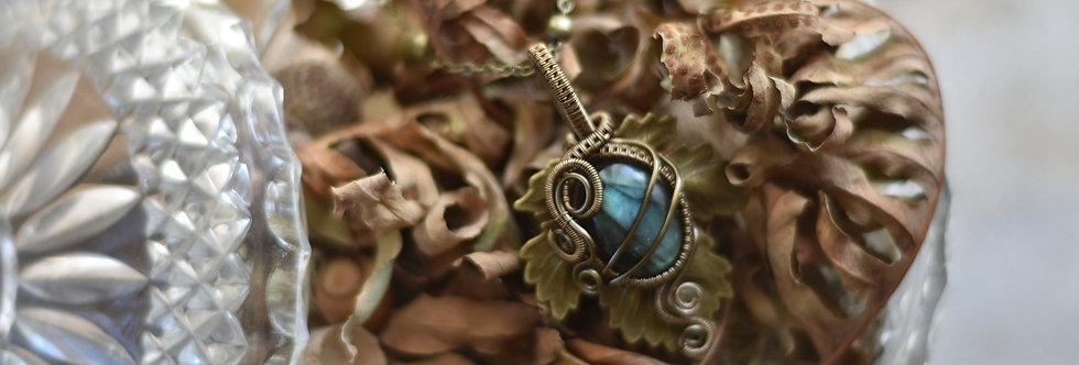 ~Athélas~ Pendentif Feuille Bronze et wire  Bronze en Labradorite bleu