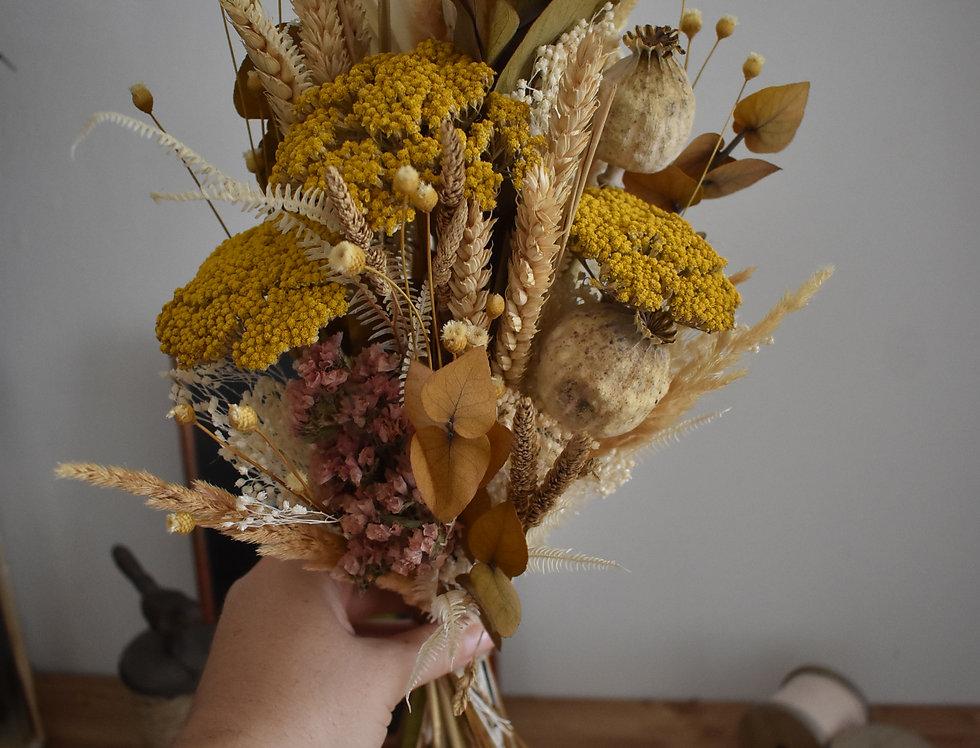 ~Lumière d'automne ~ Bouquet haut de fleurs séchées aux couleur Jaunes et nature