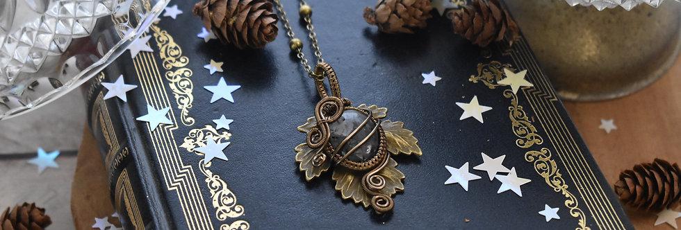 ~Athélas~ Pendentif Feuille Bronze et wire Bronze en Quartz Rutile