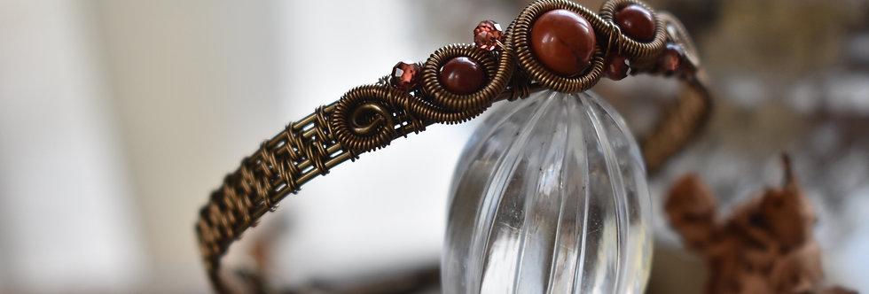 ~Odyssée~ Bracelet bronze wire et perles de Jaspe rouge