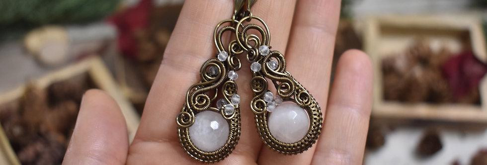 ~Astrantia~Boucles d'oreilles Wire Bronze perles de Quartz rose