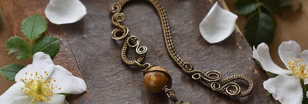 ~Little Mirdan ~ Marque-pages wire Bronze et perles de Corail fossilisé