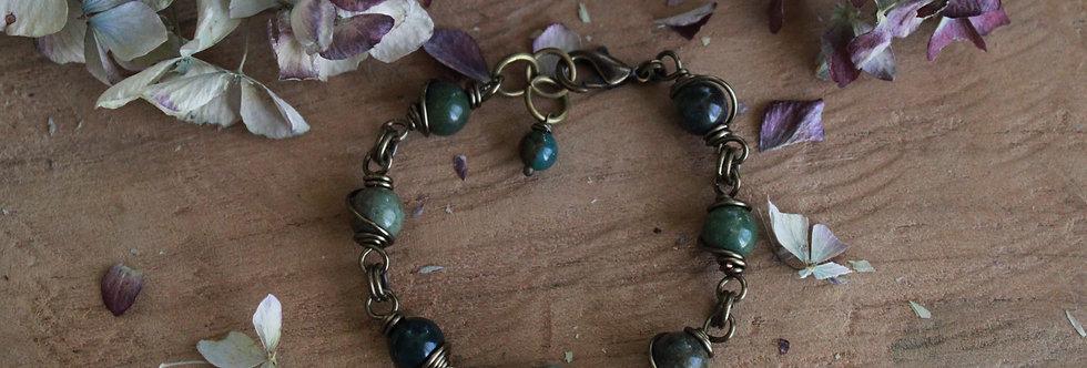 ~Simplicité~ Bracelet bronze wire et perles d'Agate Verte