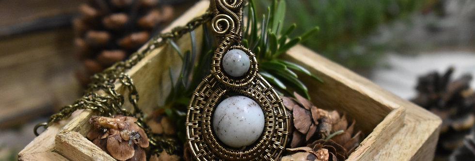 ~Médieval~ Pendentif wire Bronze en Agate grise
