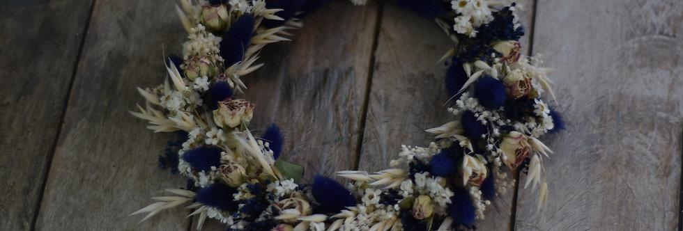 ~Renaissance~ Couronne de Fleurs séchées Blanche et bleu
