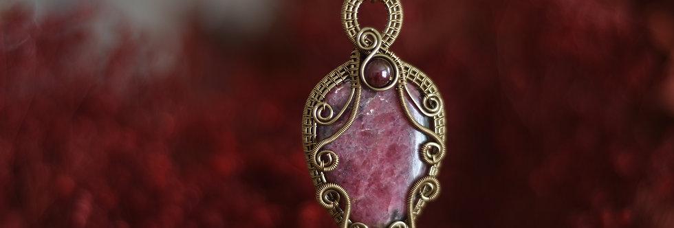 ~Filtre d'Amour ~ Collier wire bronze en Rhodonite et perles de Grenat
