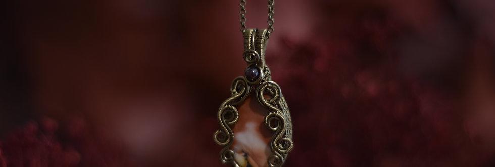 ~Flamboyante~ Collier wire bronze en Jaspe Mokaïte ovale  et perles de Grenat