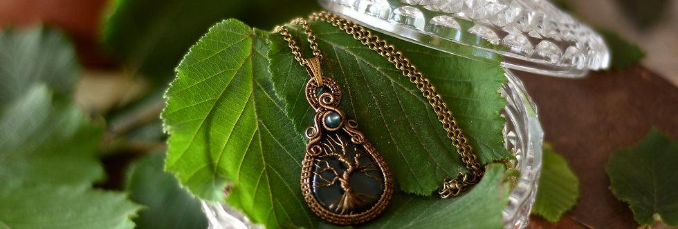 ~Médaillon des forêts ~ Collier wire bronze Arbre de vie Agate de vie
