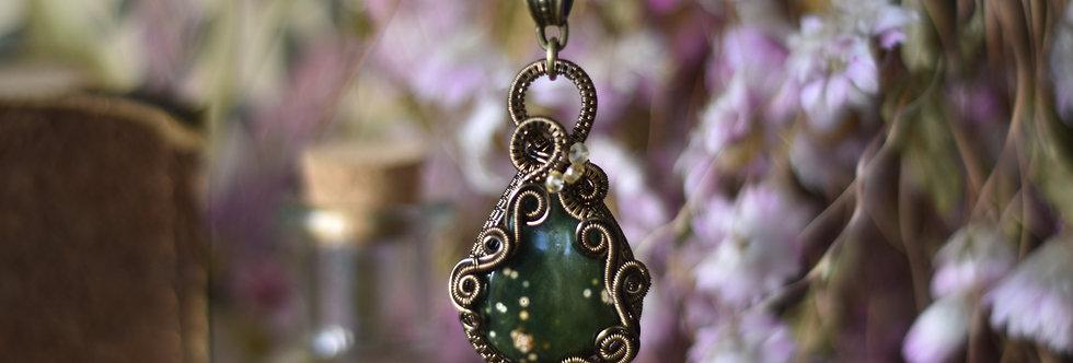 ~Halésia~ Collier wire bronze en jaspe ocean