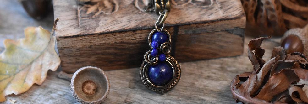 ~Little-Hwind~ Pendentif wire Bronze et Perles de Lapis lazui