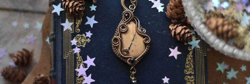 ~Corydale à vrilles ~ Collier wire bronze en Jaspe Paysage et perles d'Onyx