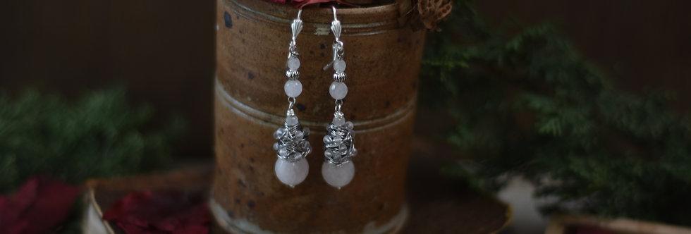 ~Elegance~Boucles d'oreilles Wire Argent vieilli perles de Quartz rose