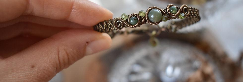 ~Odyssée~ Bracelet bronze wire et perles d'AgateVerte