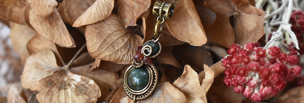 ~Little-Hwind~ Pendentif wire Bronze et Perles d'Agate verte