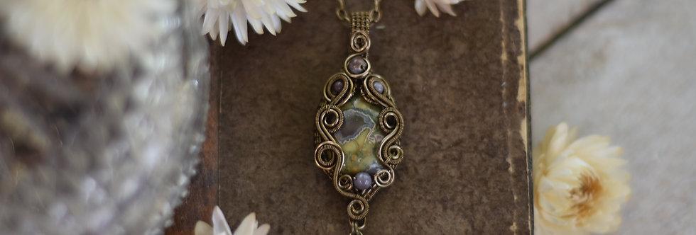 ~Nérine~ Collier wire bronze en Jaspe Rainforest  et perles d'agate