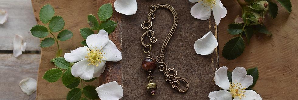 ~Little Mirdan ~ Marque-pages wire Bronze et perles Oeil de taureau