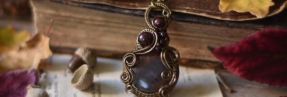 ~Belladone~ Collier wire bronze en Jaspe Sanguine