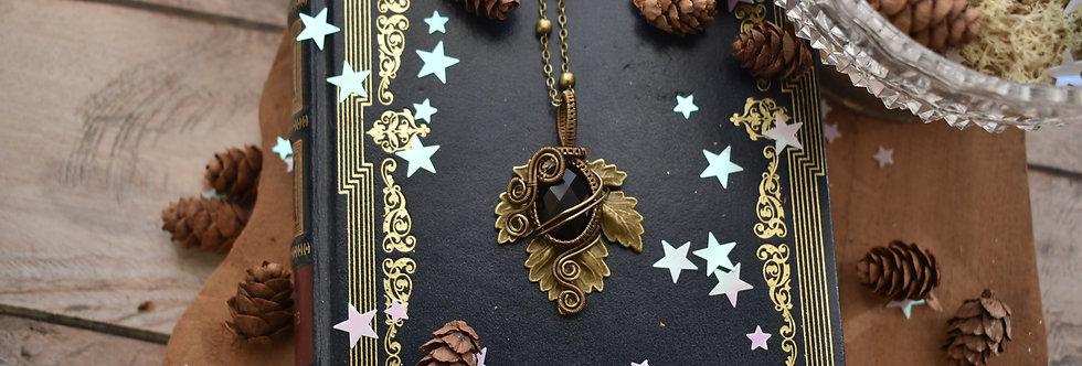 ~Athélas~ Pendentif Feuille Bronze et wire Bronze en Onyx Facettée