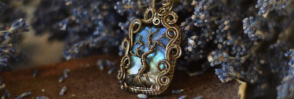 ~Arbre de Provence~ Collier wire bronze arbre de vie sur Labradorite