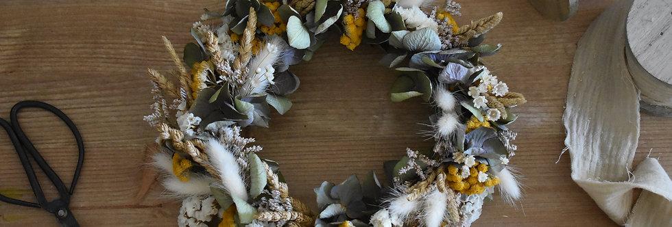 ~Entre 2 Saisons  ~ Couronne Murale en fleurs séchées Blanche, jaune et vert