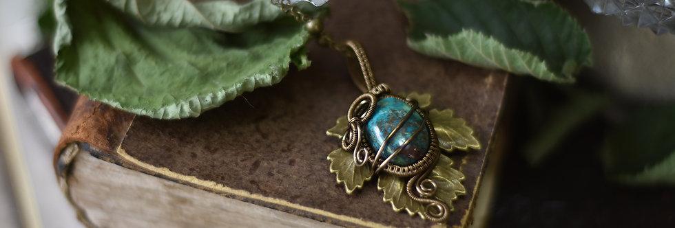 ~Athélas~ Pendentif Feuille Bronze et wire  Bronze en Chrysocolle