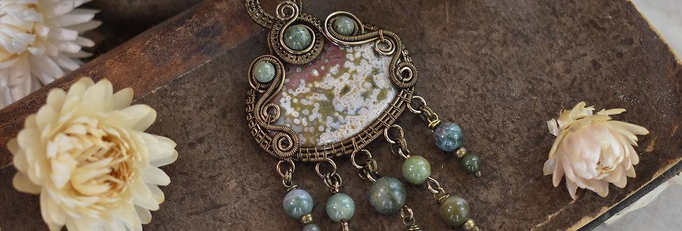 ~Lycoride~ Collier wire bronze en Jaspe Océan et perles d'agate verte