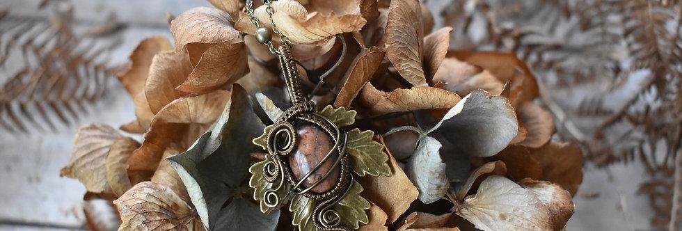 ~Athélas~ Pendentif Feuille Bronze et wire  Bronze en Jaspe