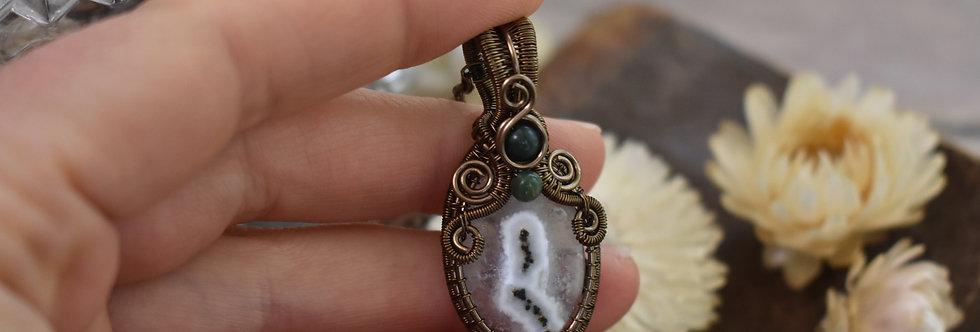 ~Anthyllis~ Collier wire bronze en Quartz Solaire et perles d'Agate