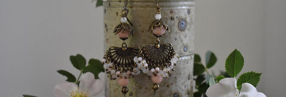~Nymphe~Longue Boucles d'oreilles Bronze Perles de Quartz rose et Opale Rose