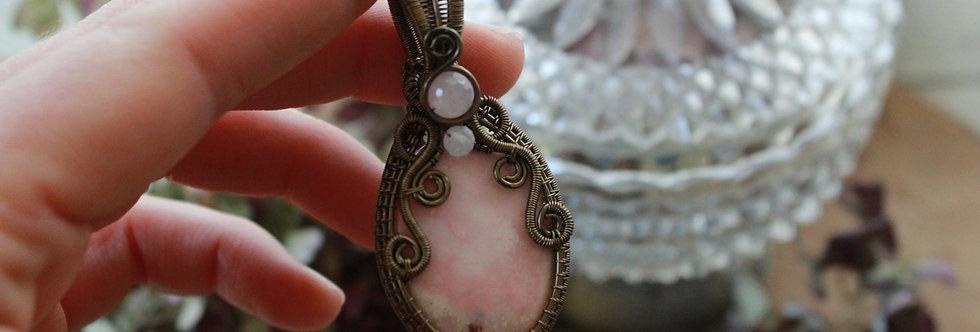 ~Colombine~ Collier wire bronze en Opale rose