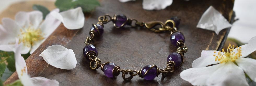 ~Simplicité~ Bracelet bronze wire et Perles d'Améthyste
