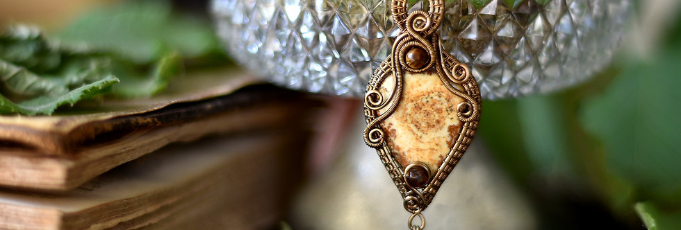 ~Talisman du désert~ Collier wire bronze en Jaspe Paysage et Oeil de tigre