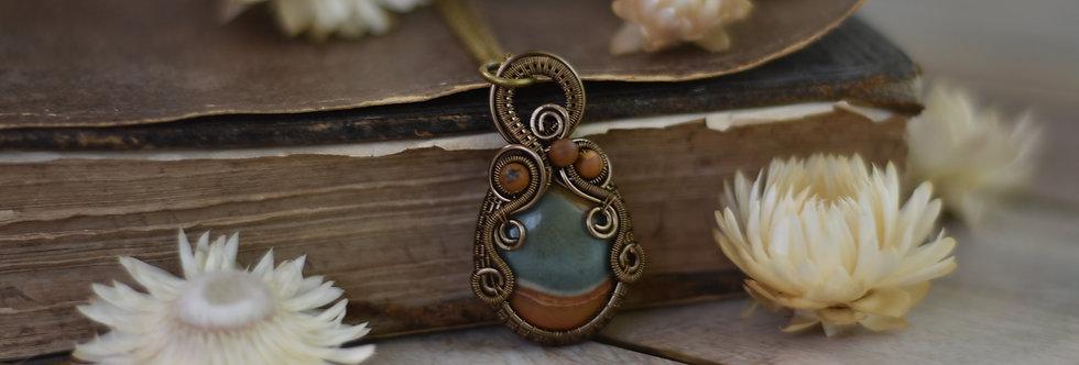 ~Clivia~ Collier wire bronze en Jaspe Polychrome et perles d'Agate