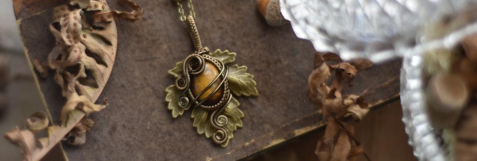 ~Athélas~ Pendentif Feuille Bronze et wire  Bronze en Oeil de Tigre