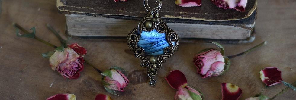 ~Plante Royale~ Collier wire bronze en Labradorite Ovale bleu