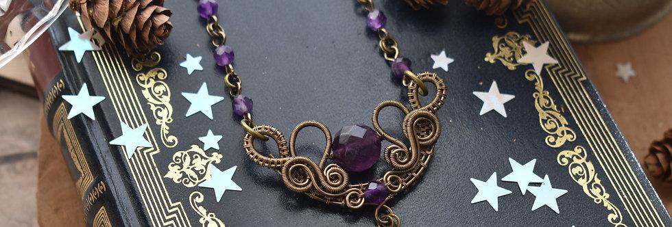 ~Fleurs d'Iris~ Collier wire bronze et perle d'Améthyste facettées