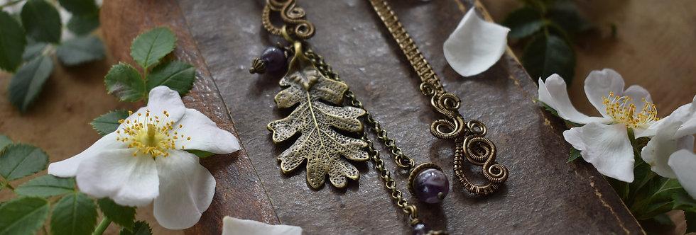 ~Mirdan ~ Marque-pages wire Bronze Feuille de chêne et Perles d'Améthyste