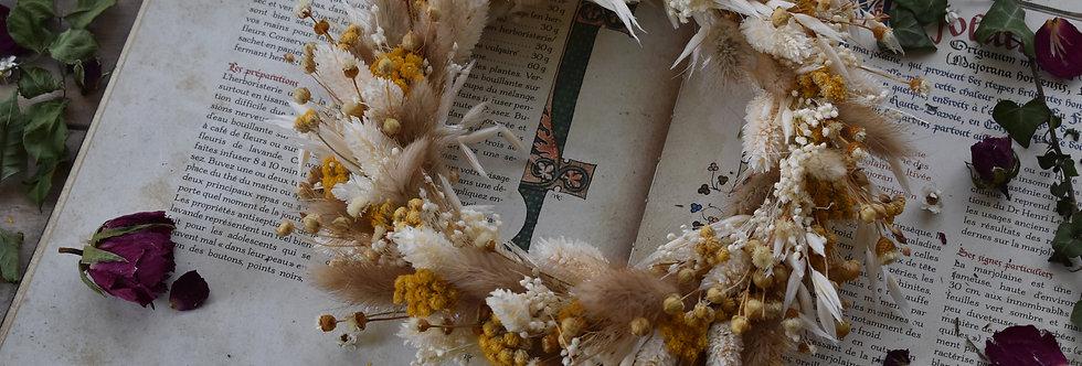 ~Achillée~ Couronne Murale en fleurs séchées Blanche et Jaune
