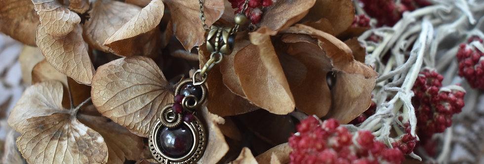~Little-Hwind~ Pendentif wire Bronze et Perles de Grenat