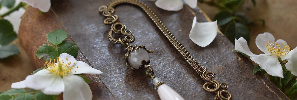 ~Mirdan ~ Marque-pages wire Bronze et perles de Quartz rose
