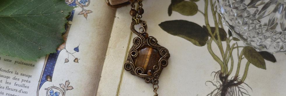 ~Grémil~ Collier wire bronze en Oeil de Tigre