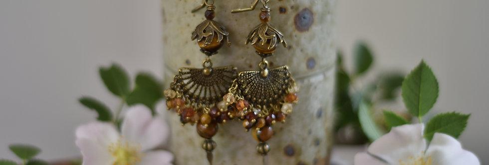 ~Nymphe~Longue Boucles d'oreilles Bronze et dégradé de marron-beige