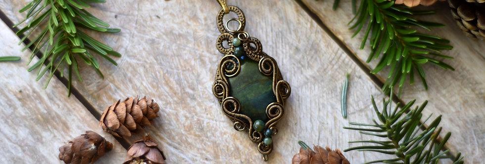 ~Sapin Noble ~ Collier wire bronze en Jaspe Sanguine et Agate verte