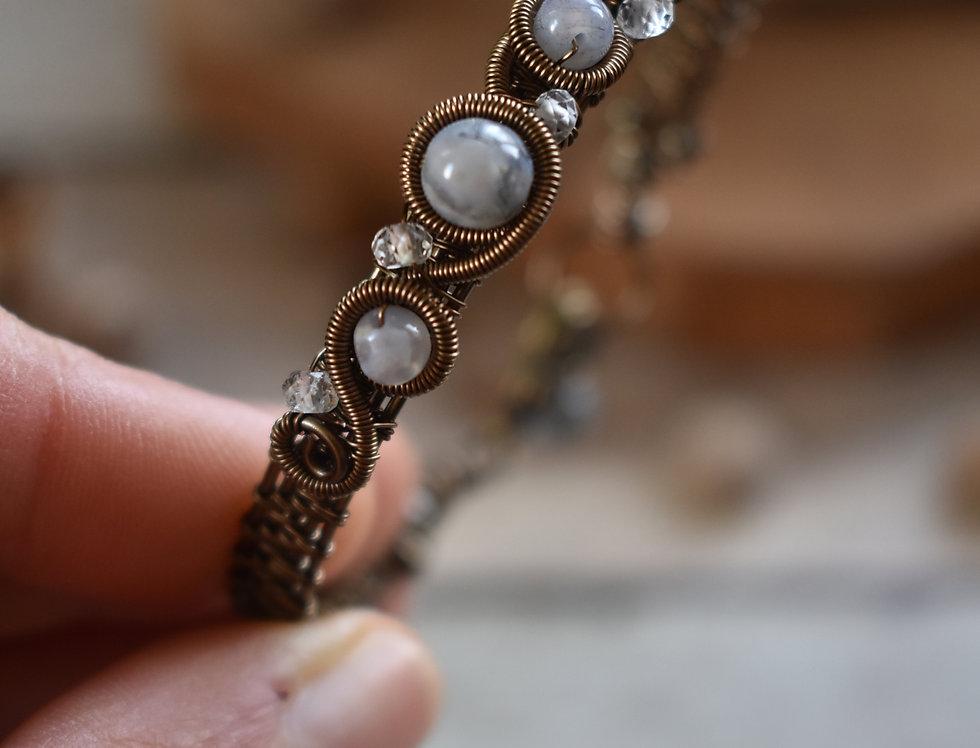 ~Odyssée~ Bracelet bronze wire et perles d'Agate