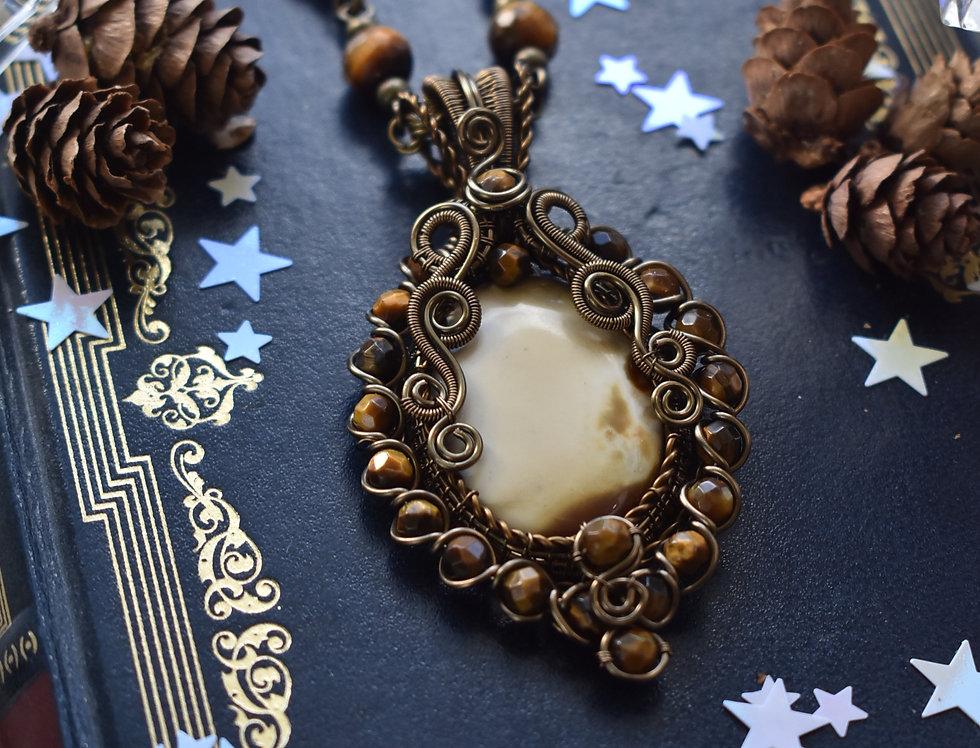 ~Renaissance ~ Collier wire bronze en Jaspe Polychrome et perles d'oeil de tigre