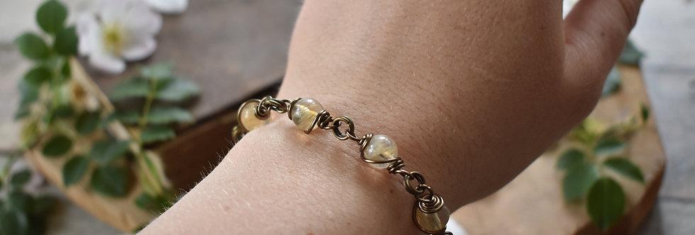 ~Simplicité~ Bracelet bronze wire et perles de  Citrine