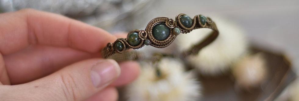 ~Grand Odyssée~ Bracelet bronze wire et perles d'AgateVerte