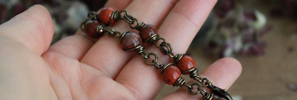 ~Simplicité~ Bracelet bronze wire et perles de jaspe rouge